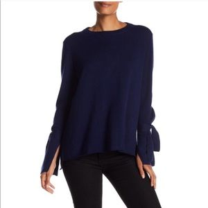 Madewell Blue Bow Sleeve Pullover Sweater